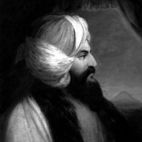 A black and white contemporary portrait of Belzoni, showing him in profile view wearing 19th century middle-eastern clothes, sporting a large black beard