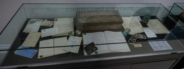 A display case full of Garstang-related goodies