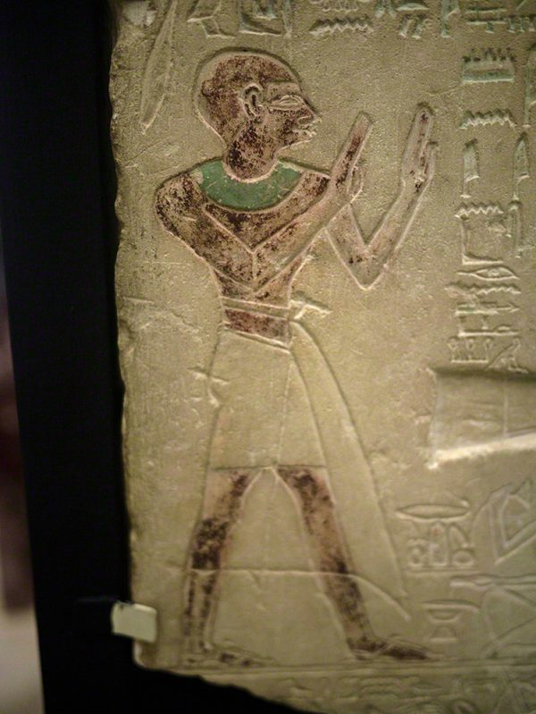 Detail of the owner of the stela, Amenysonb, showing the surviving paintwork