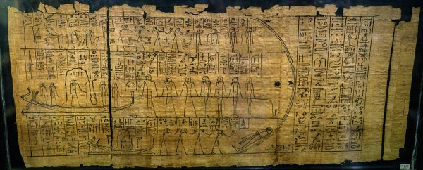 Closeup of the papyrus with the Amduat (composite image), showing Re's journey through the Duat. The papyrus belonged to a 21st Dynasty songstress of Amun-Re called Tja-ty, who lived in Thebes (Acc. No. E.507(2))