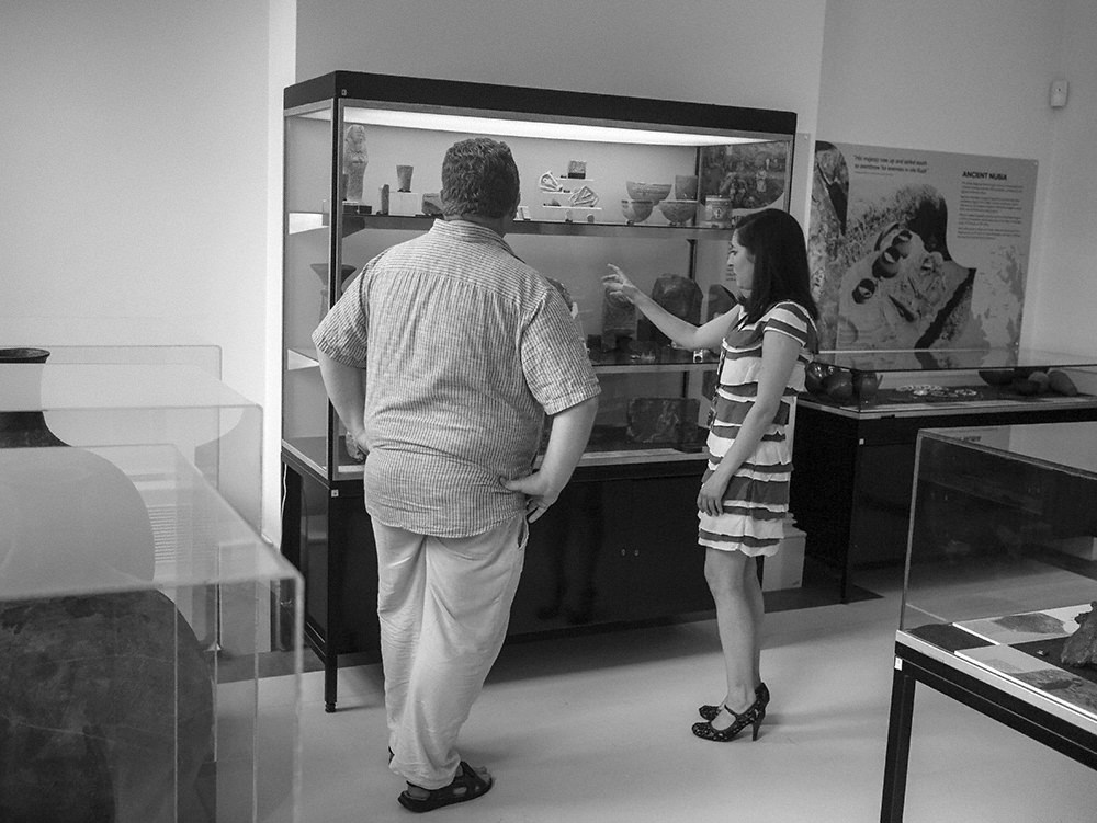Gina and Roland Enmarch discussing the finer nuances of object display