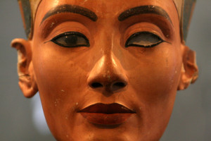 A closeup of the face of the famous bust of Nefertiti