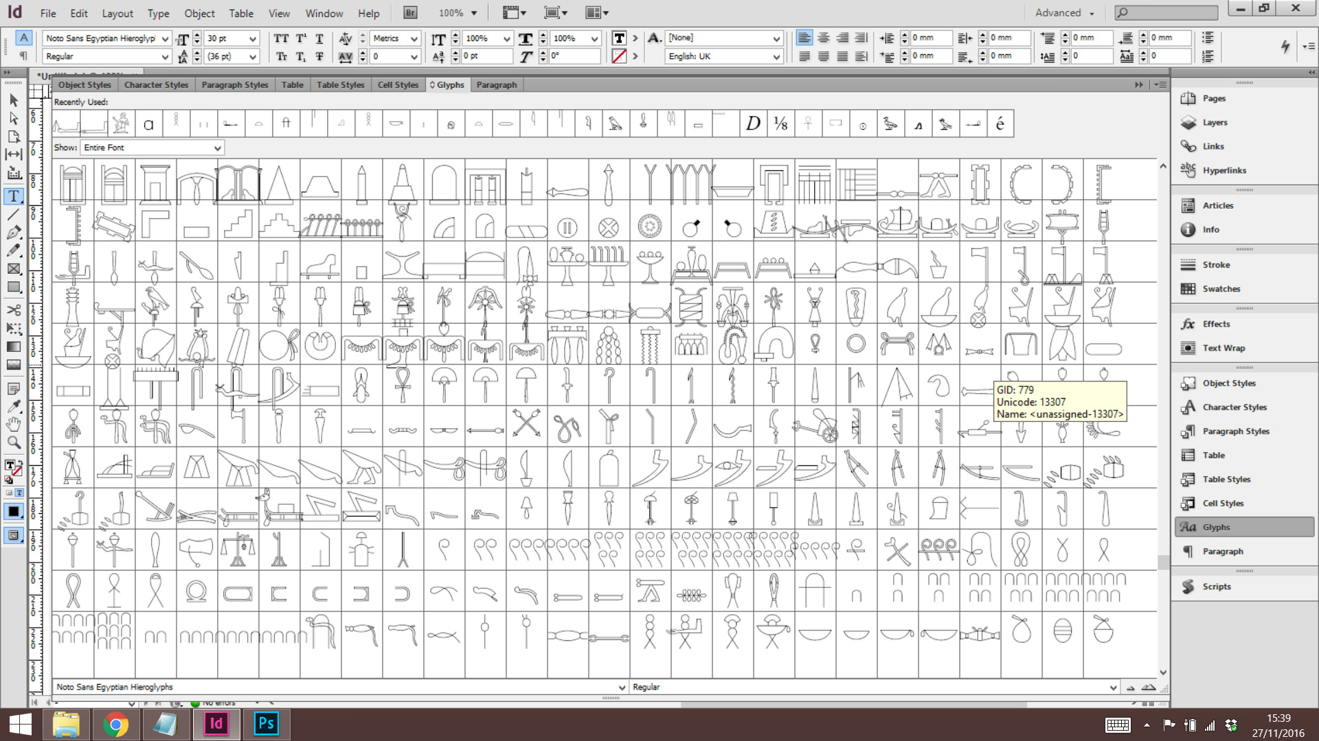 A screenshot showing some of the hieroglyphs in the Google Noto Egyptian Hieroglyphs font