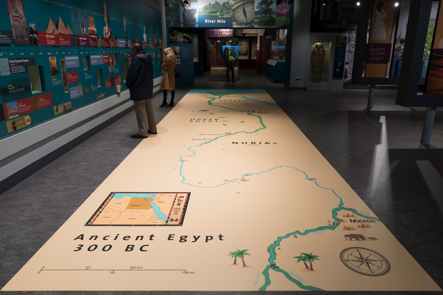 A giant map of ancient Egypt and Nubia up to 300 BC on the floor, which can be walked over by visitors