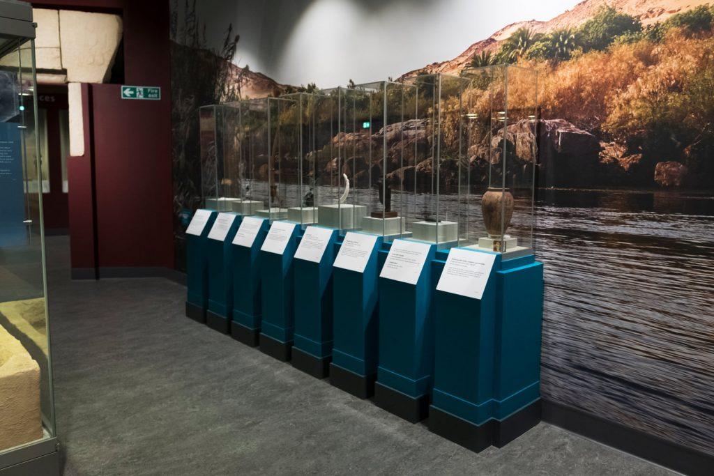 Eight objects displayed each in a tall, rectangular perspex case on blue stands. Behind them is a large photo of a rocky bank on the Nile mounted on the wall