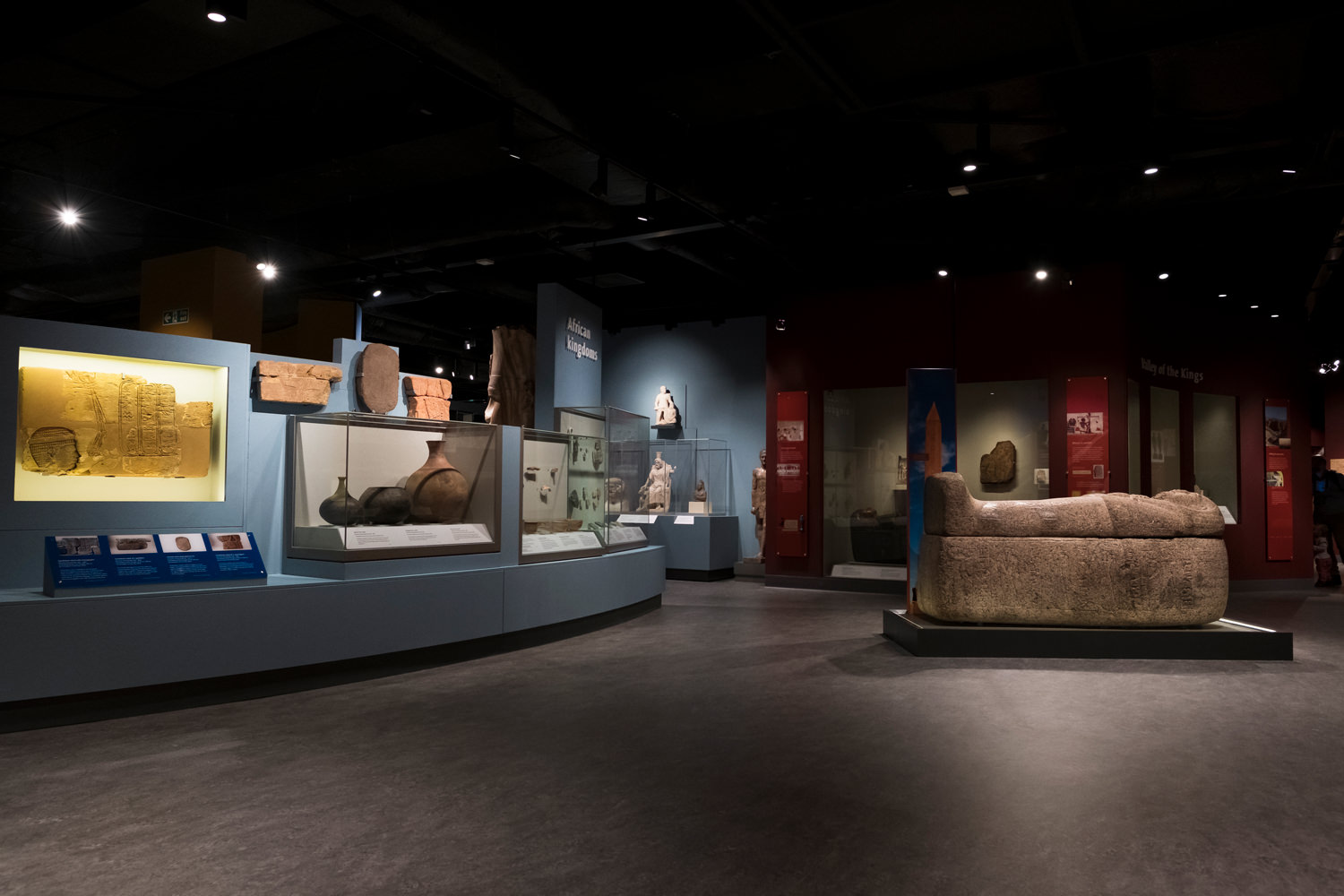 Looking across the gallery past the 'African Kingdoms' section, displaying Nubian artefacts. There's also a large, granite sarcophagus in the middle of the room