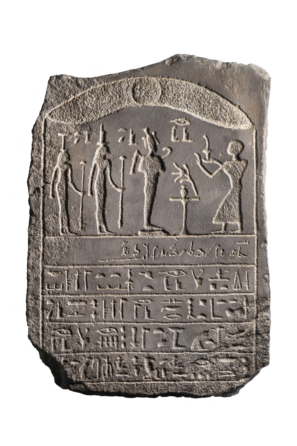 An ancient Egyptian basalt stela with inscriptions in demotic and hieroglyphs
