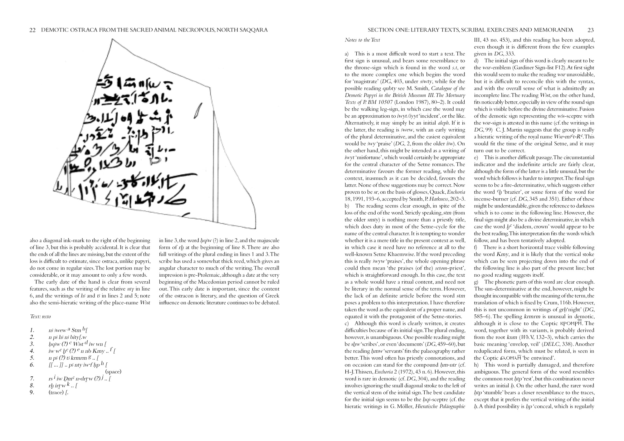 Sample page from Ray's Demotic ostraca