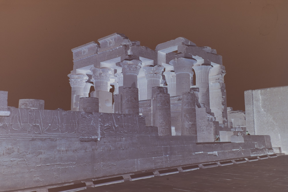 a scanned photography negative of Kom Ombo temple in Egypt.