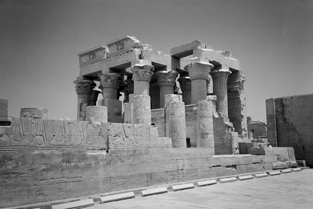 Kom Ombo temple. The photo has been edited and changed to black and white.