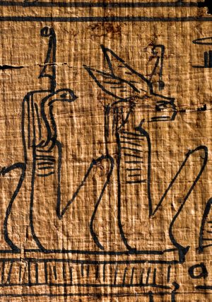 Two ancient Egyptian gods, as sitting humans, one with a serpent's head, the other with a hare's head