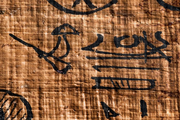 Tiny hieroglyphs of arms holding an oar and of an ancient Egyptian boat