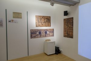 Images from ancient Egypt on the wall of the Tate Exchange Workshop area