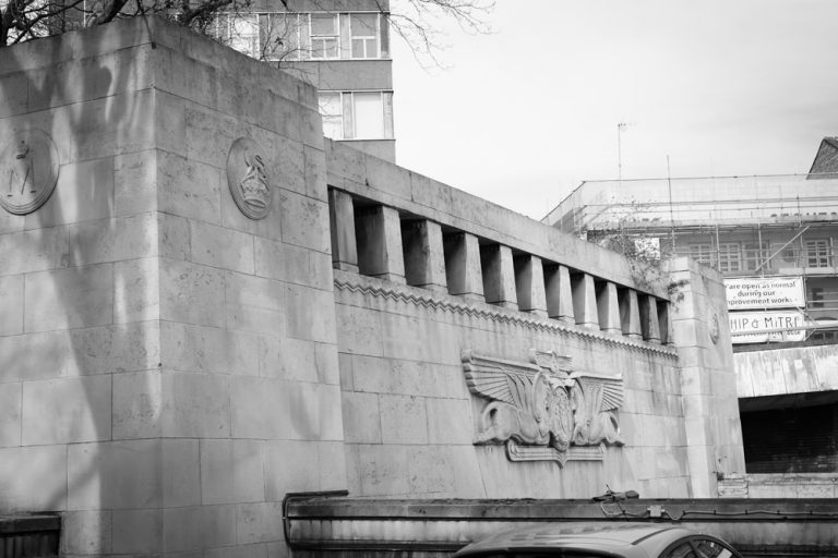 The entrance to the Queensway Tunnel, shaped like an Egyptian temple doorway with carvings in the centre