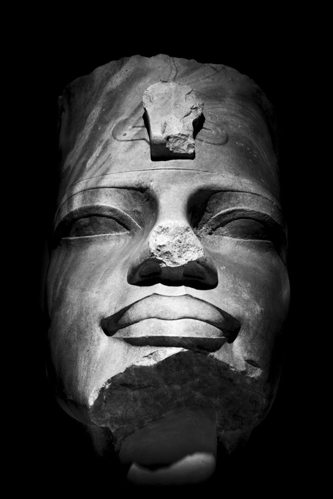 A head from an ancient Egyptian colossal statue