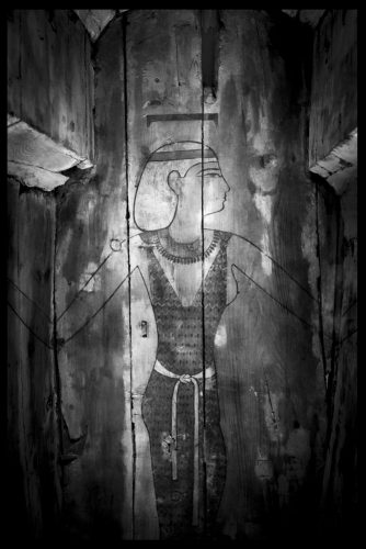 The ancient Egyptian goddess Nut painted inside a wooden coffin