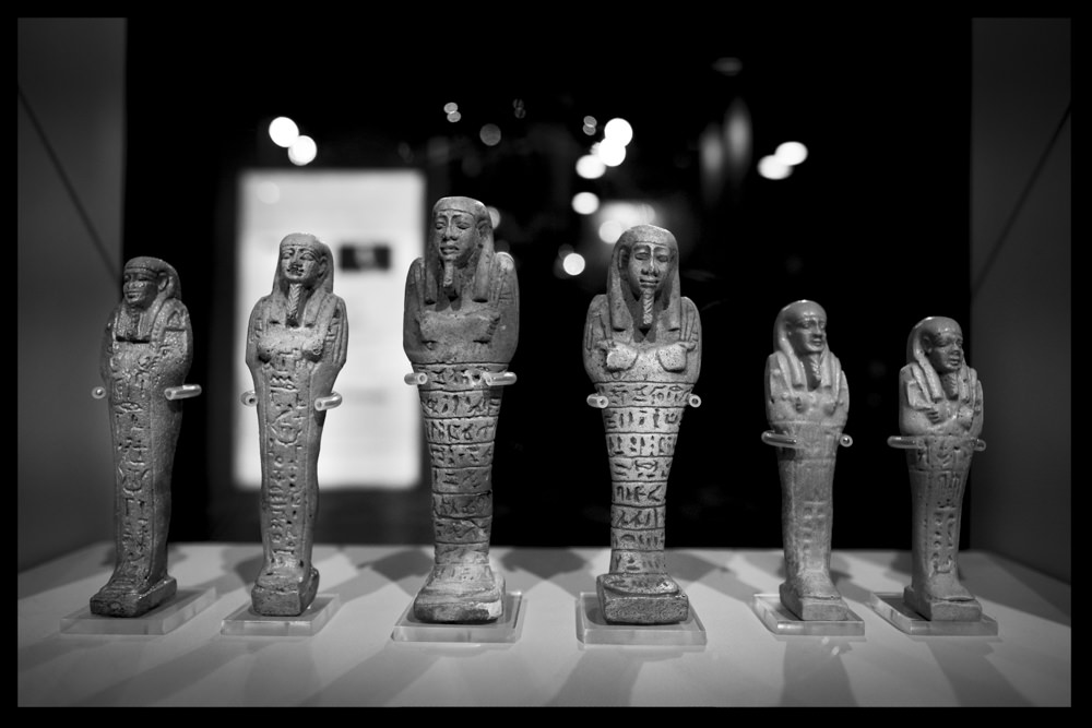 Six beautifully carved shabtis made of blue faience