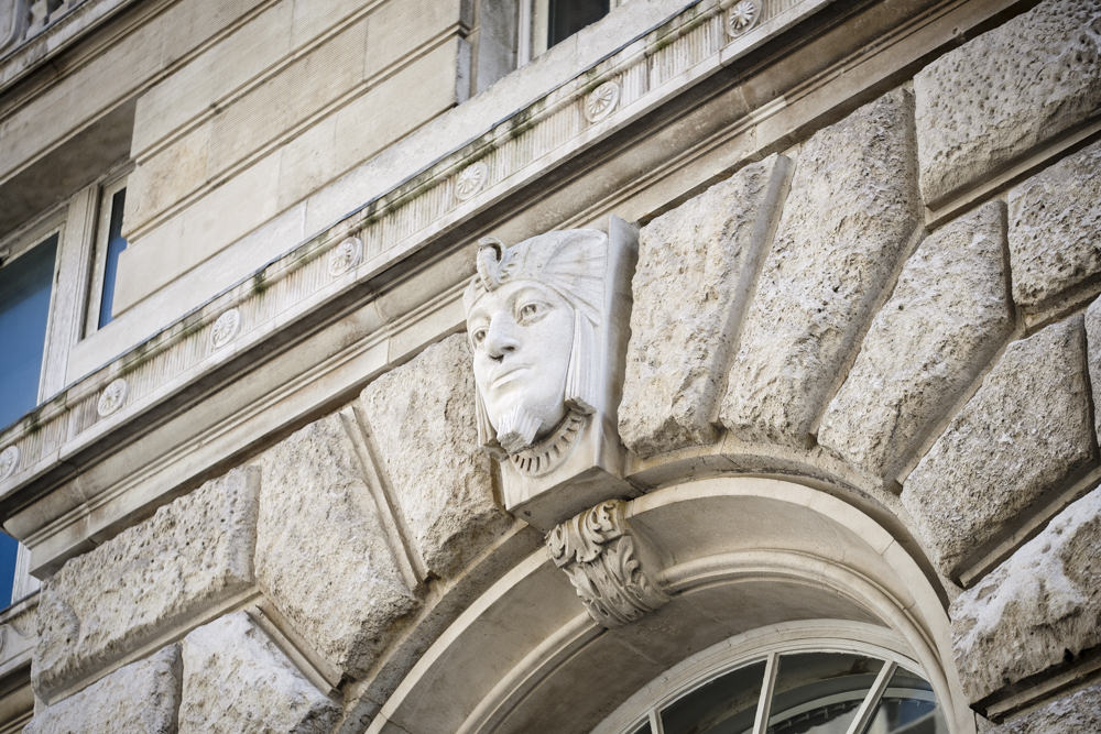 A pharaoh's head on the side of the Cunard Building, Liverpool