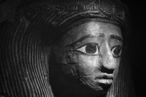 The face of a Late Period ancient Egyptian coffin