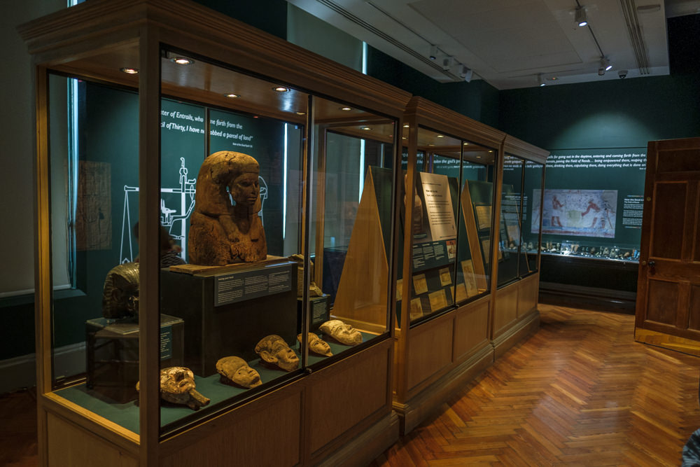 A museum gallery with ancient Egyptian artefacts