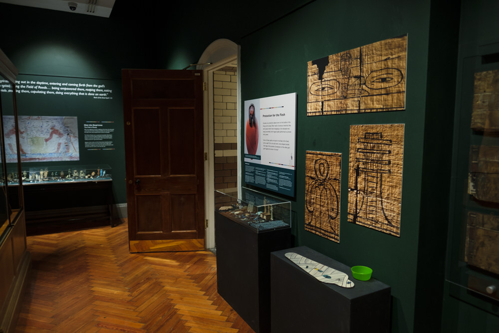 Part of a museum exhibition room with ancient Egyptian objects on display