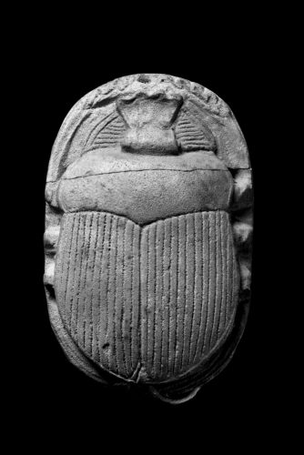 A small, limestone ancient Egyptian scarab beetle