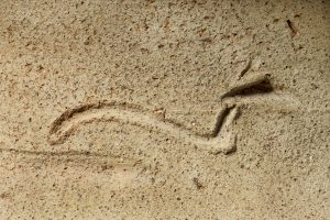 A cursive serpent engraved in the neck of an ancient egyptian pot