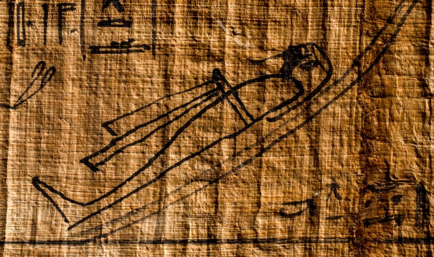 The Egyptian god Osiris lying as a mummified corpse in the underworld