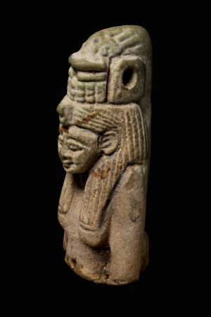 An ancient Egyptian amulet of Hat-mehyt, a woman with a fish on her head