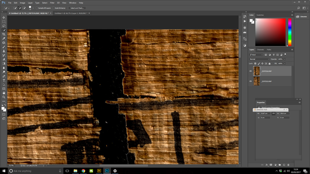 A screenshot of a close-up of ancient Egyptian papyrus being 'repaired' in Photoshop