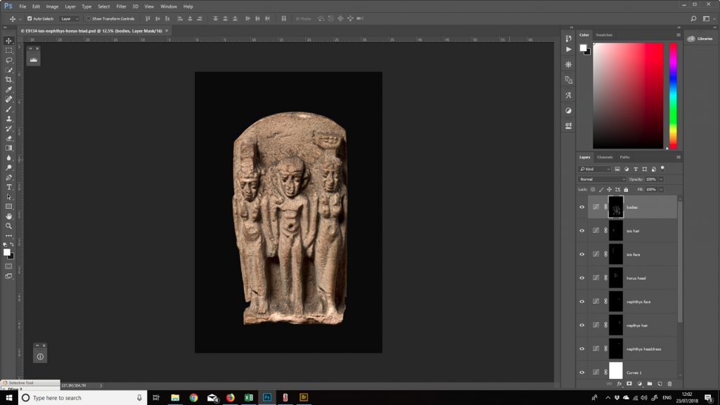 A screenshot of the ancient Egyptian Osirian triad amulet being processed in Photoshop