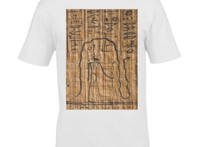 product image for the white 're and mehen' ancient egyptian design cotton t-shirt
