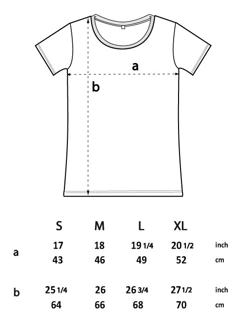 size guide for ep09 open neck tshirt