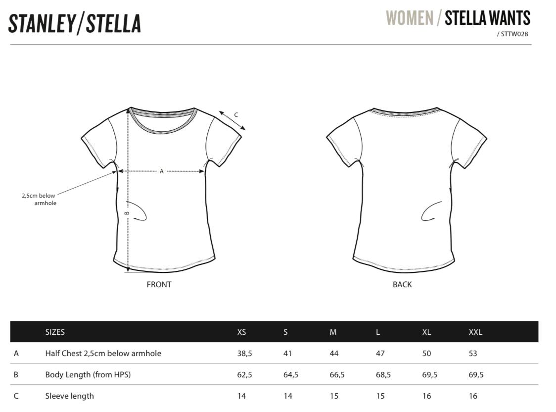 stella wants tshirt size chart