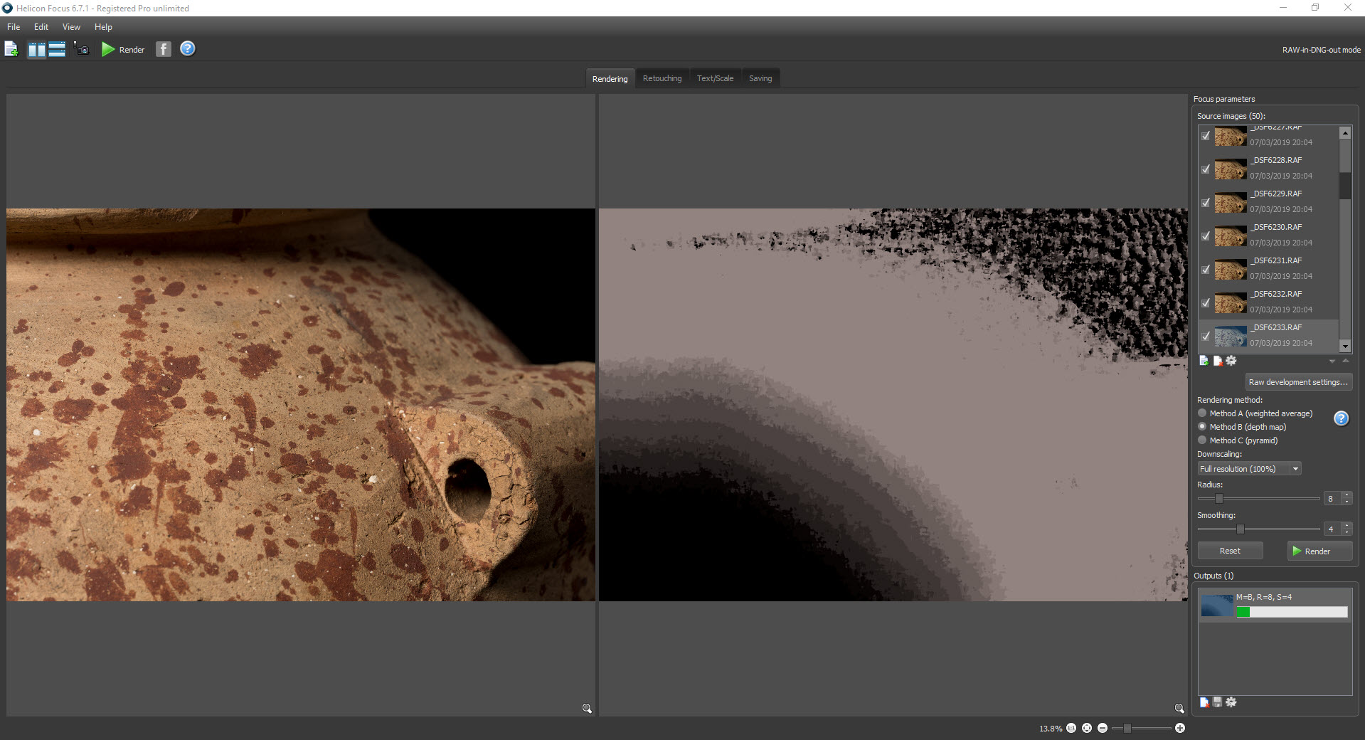 A screenshot of Helicon Focus doing focus-stacking