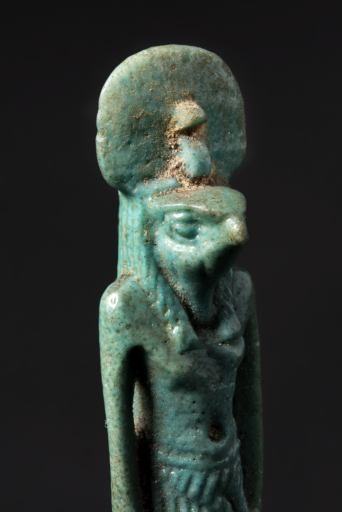 The composite focus-stacked photo of an ancient Egyptian amulet of Horus