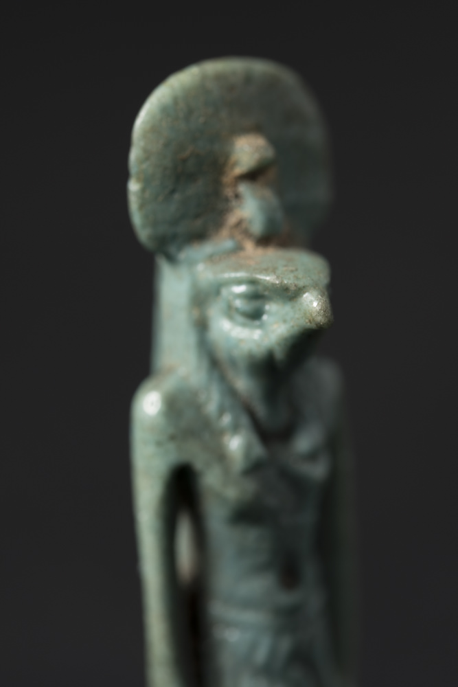 The first picture in a focus stack of an ancient Egyptian amulet of Horus