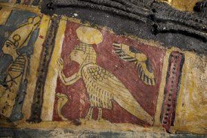 an ancient egyptian ba-bird on a Roman-period coffin