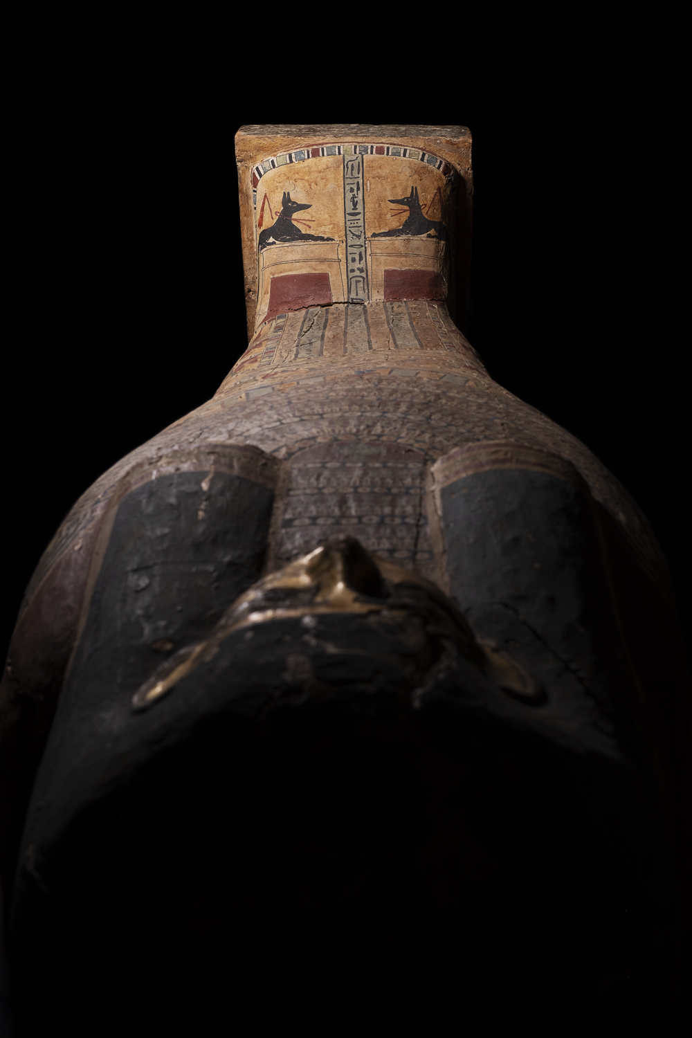 the feet of an ancient egyptian coffin