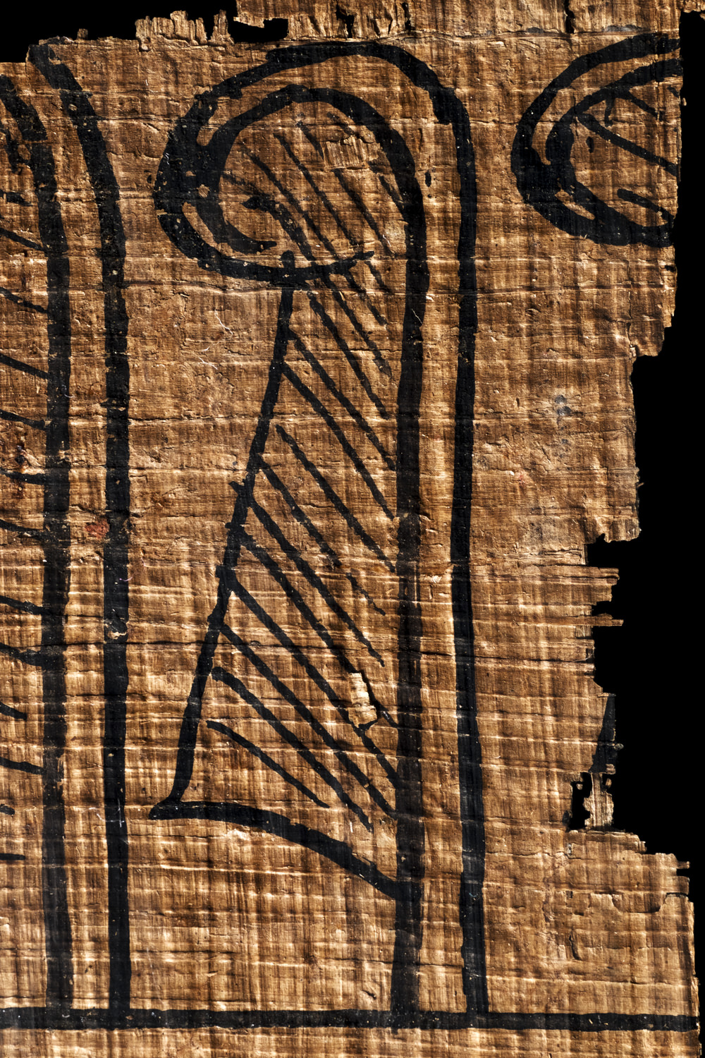 an egyptian feather of truth on papyrus