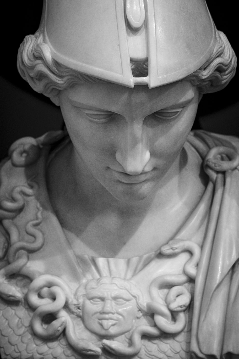 a marble statue of the goddess athena
